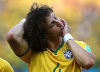 David Luiz of Brazil stretches his neck before kick off