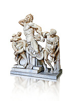 Statue group identified as as the Laocoon described by Pliny as a masterpiece made by the sculptors of Rhodes. The Laocoon depicts a scene from the Trojan War in which Athena and Poseidon sent two great serpants to wrap themselves around Laocoon and his two sons to kill them. Circa 40-30BC, Pope Clement XIV coillection, Vatican Museum Rome, Italy,  white background