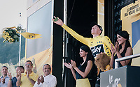 Chris Froome (GBR/SKY) for the first time in yellow this year<br /> <br /> 104th Tour de France 2017<br /> Stage 5 - Vittel › La Planche des Belles Filles (160km)