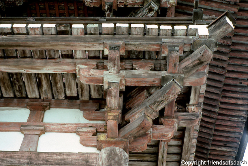 Kyoto: Todaiji Temple--detail of eave brackets. Photo '81.