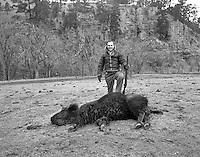 Buffalo Kill at Wind Cave for Pine Ridge Indians Feb 20 1948