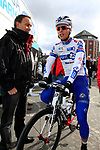 Arthur Vichot (FRA) FDJ-BigMat makes his way to sign on before the start of the 98th edition of Liege-Bastogne-Liege outside the Palais des Princes-Eveques, running 257.5km from Liege to Ans, Belgium. 22nd April 2012.  <br /> (Photo by Eoin Clarke/NEWSFILE).