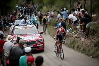 Carl Fredrik Hagen (NOR/Lotto-Soudal) up the steepest part of the brutal Mas de la Costa: the final climb towards the finish<br /> <br /> Stage 7: Onda to Mas de la Costa (183km)<br /> La Vuelta 2019<br /> <br /> ©kramon