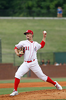 Greeneville Reds pitcher Jacob Heatherly (31) on the mound during a game against the Bristol Pirates at Pioneer Field on June 19, 2018 in Greeneville, Tennessee. Bristol defeated Greeneville 10-2. (Robert Gurganus/Four Seam Images)