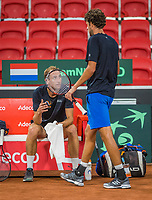 The Hague, The Netherlands, September 13, 2017,  Sportcampus , Davis Cup Netherlands - Chech Republic, Training Dutch team, Thiemo de Bakker (NED) and Robin Haase (NED) (R)<br /> Photo: Tennisimages/Henk Koster