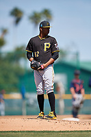 Pittsburgh Pirates pitcher Adonis Pichardo (12) during a minor league Spring Training game against the Atlanta Braves on March 13, 2018 at Pirate City in Bradenton, Florida.  (Mike Janes/Four Seam Images)