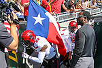 Texas Tech players in action during the game between the Texas Tech Red Raiders and the Baylor Bears at the McLane Stadium in Waco, Texas.