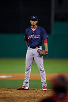 Lowell Spinners pitcher Anyelo Gomez (47) during a NY-Penn League game against the Batavia Muckdogs on July 11, 2019 at Dwyer Stadium in Batavia, New York.  Batavia defeated Lowell 5-2.  (Mike Janes/Four Seam Images)