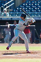 Scottsdale Scorpions first baseman Darick Hall (30), of the Philadelphia Phillies organization, at bat during an Arizona Fall League game against the Peoria Javelinas at Peoria Sports Complex on October 18, 2018 in Peoria, Arizona. Scottsdale defeated Peoria 8-0. (Zachary Lucy/Four Seam Images)