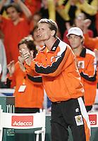 6-4-07, England, Birmingham, Tennis, Daviscup England-Netherlands, Captain Jan Siemerink moedigt Haase aan