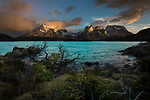 Lake Pehoe and the granitic peaks of Cuernos del Paine at sunrise - part of the Central Massif in Torres del Paine National Park (Parque Nacional Torres del Paine), Patagonia, Chile, South America.