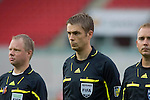 FIFA Referee Mattias Gestranius of Finland (middle) during the International Friendly between Wales and Luxembourg at Parc y Scarlets in LLanelli..