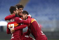 Football, Serie A: AS Roma -  FC Internazionale Milano, Olympic stadium, Rome, January 10, 2021. <br /> Roma's Lorenzo Pellegrini (r) celebrates after scoring with his teammates Leonardo Spinazzola (l) and Gonzalo Villar (c) during the Italian Serie A football match between Roma and Inter at Rome's Olympic stadium, on January 10, 2021.  <br /> UPDATE IMAGES PRESS/Isabella Bonotto