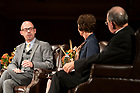 """September 25, 2019; Moderator John Allen, editor of Crux, directs a question during the 2019-20 Notre Dame Forum: """"'Rebuild My Church': Crisis and Response,"""" with a discussion on """"The Church Crisis: Where Are We Now?"""" held at the DeBartolo Performing Arts Center. (Photo by Barbara Johnston/University of Notre Dame)"""