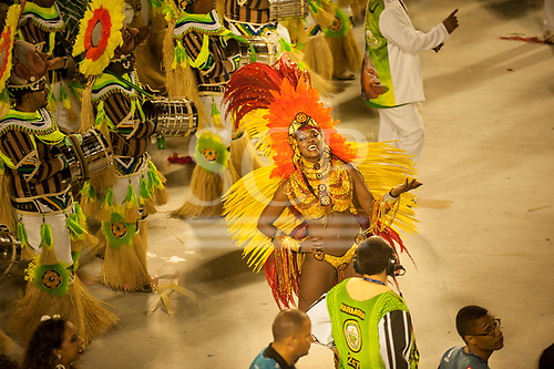 Imperatriz Leopolinense Samba School, Carnival, Rio de Janeiro, Brazil, 26th February 2017. Samba dancer leading the bateria percussion section, who wear the mask of Raoni to represent the fight for the forest.