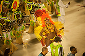 Imperatriz Leopolinense Samba School, Carnival, Rio de Janeiro, Brazil, 26th February 2017. Samba dancer leading the bateria percussion section, who wear the mask of Raoni to represent the fight for the forest.