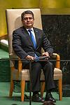 General Assembly Seventy-fourth session, 5th plenary meeting<br /> <br /> His Excellency Juan Orlando Hernández Alvarado, President, Republic of Honduras