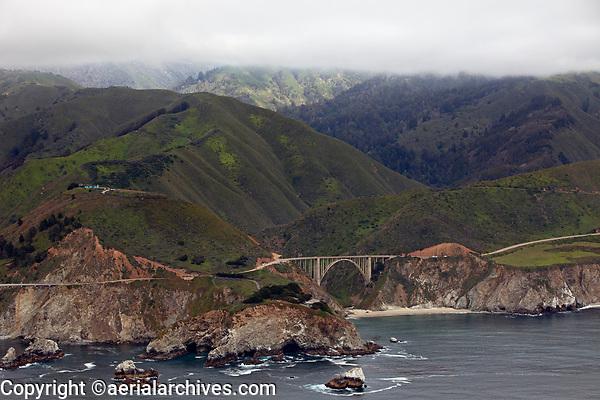 aerial photograph of Bixby Creek Bridge, Big Sur, Monterey County, California