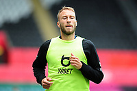 Mike van der Hoorn of Swansea City warms up during the Sky Bet Championship match between Swansea City and Sheffield Wednesday at the Liberty Stadium in Swansea, Wales, UK. Sunday 05 July 2020