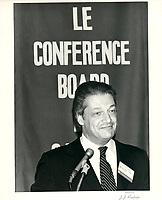 Michel Belanger a la tribune du CONFERENCE BOARD OF CANADA, le 9 septembre 1980.<br /> <br /> <br /> PHOTO : Agence Quebec Presse