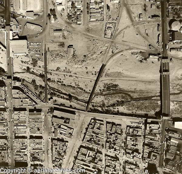 historical aerial photograph of the Mexican American border, El Paso ,Texas, Ciudad Juarez, Mexico, 1964