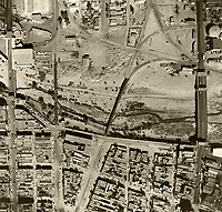 historical aerial photograph of the Mexican American border, El Paso ,Texas, Ciudad Juarez, Mexico, 1964