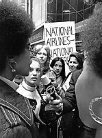 "The National Organization for Women (NOW) protests the ""Fly Me"" ad campaign released in 1971 by National Airlines. The group denounced the campaign for the depiction of women as sex objects. New York City. Photo by John G. Zimmerman."