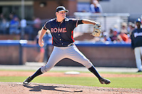 Rome Braves pitcher Matt Custred (48) delivers a pitch during a game against the Rome Braves at McCormick Field on April 17, 2016 in Asheville, North Carolina. The Tourists defeated the Braves 12-5. (Tony Farlow/Four Seam Images)