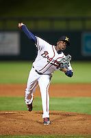Salt River Rafters pitcher Akeel Morris (28), of the Atlanta Braves organization, during a game against the Peoria Javelinas on October 11, 2016 at Salt River Fields at Talking Stick in Scottsdale, Arizona.  The game ended in a 7-7 tie after eleven innings.  (Mike Janes/Four Seam Images)