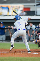 Earl Burl III (3) of the Bluefield Blue Jays at bat against the Burlington Royals at Burlington Athletic Stadium on June 28, 2016 in Burlington, North Carolina.  The Royals defeated the Blue Jays 4-0.  (Brian Westerholt/Four Seam Images)