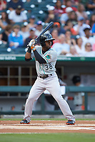 Cedric Mullins (38) of the Norfolk Tides at bat against the Charlotte Knights at BB&T BallPark on July 5, 2019 in Charlotte, North Carolina. The game was suspended in the bottom of the first inning due to wet grounds. (Brian Westerholt/Four Seam Images)