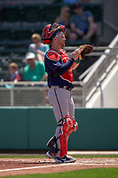 Minnesota Twins catcher Ryan Jeffers (27) during a Major League Spring Training game against the Boston Red Sox on March 17, 2021 at JetBlue Park in Fort Myers, Florida.  (Mike Janes/Four Seam Images)