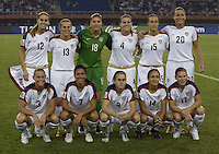 USA starting XI pose for a photo prior to the start of the game. The United States (USA) defeated England (ENG) 3-0 during a quarter-final match of the FIFA Women's World Cup China 2007 at Tianjin Olympics Center Stadium in Tianjin, China, on September 22, 2007.