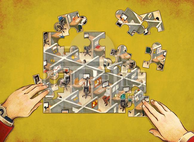 Illustrative representation showing office establishment