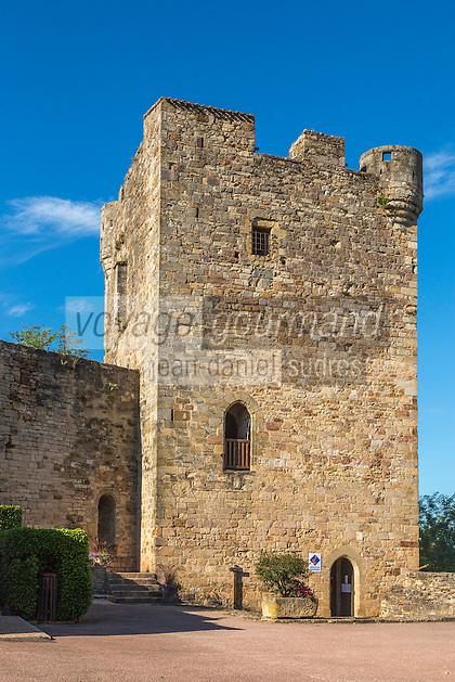 France, Lot, (46),   Capdenac-le-Haut, labellisé Les Plus Beaux Villages de France, Le Donjon // France, Lot, Capdenac-le-Haut  Capdenac le Haut, labelled Les Plus Beaux Villages de France (The Most Beautiful Villages of France), , the tower of the medieval fortress