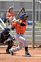 Houston Astros outfielder Jason Martin (9) during a minor league spring training game against the Detroit Tigers on March 21, 2014 at Osceola County Complex in Kissimmee, Florida.  (Mike Janes/Four Seam Images)