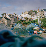 A harbour with fishing nets in Roundstone, Connemara, Ireland