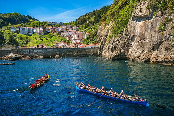 Traineras or regattas. Elantxobe. Urdaibai Region. Bizkaia. Basque Country. Spain.
