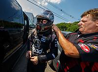 Jun 10, 2017; Englishtown , NJ, USA; NHRA funny car driver Jonnie Lindberg with crew member during qualifying for the Summernationals at Old Bridge Township Raceway Park. Mandatory Credit: Mark J. Rebilas-USA TODAY Sports