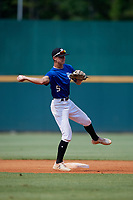 Max Johnson (5) of William Mason High School in Mason, OH during the Perfect Game National Showcase at Hoover Metropolitan Stadium on June 19, 2020 in Hoover, Alabama. (Mike Janes/Four Seam Images)