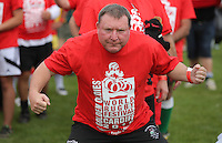 Pictured: One of the participants in Cardiff, Wales, UK. Wednesday 24 August 2016<br />Re: The largest rugby scrum has been achieved by Golden Oldies at University Fields in Cardiff south Wales, UK. It was refereed by welsh international referee Nigel Owens. Guinness World Records has verified the new record in which 1297 people took part in.