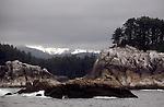 Alaska, Yakobi Island. West Chichagof-Yakobi Wilderness Area, Tongass National Forest, Southeast Alaska's most beautiful island according to kayak author, designer, builder George Dyson. Note the Steller's sea lion atop the foreground ledge, Eumetopias jubatus.