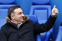 Swansea manager Carlos Carvalhal gives the thumbs up to a home supporter from the bench during The Emirates FA Cup Fifth Round match between Sheffield Wednesday and Swansea City at Hillsborough, Sheffield, England, UK. Saturday 17 February 2018