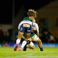 1st October 2021;  The Sportsground, Galway, Ireland; United Rugby Championships, Connacht versus Bulls; Cornal Hendricks (Bulls) stops Cian Prendergast (Connacht)