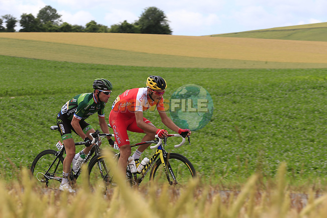 The breakaway Thomas Voeckler (FRA) Team Europcar and Luis Angel Mate Mardones (ESP) Cofidis pass through rural landscape near Bemont during Stage 4 of the 2014 Tour de France running 163.5km from Le Touquet to Lille. 8th July 2014.<br /> Picture: Eoin Clarke www.newsfile.ie