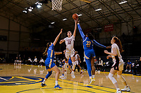 SANTA CRUZ, CA - JANUARY 22: Lexie Hull #12 goes up for a basket during the Stanford Cardinal women's basketball game vs the UCLA Bruins at Kaiser Arena on January 22, 2021 in Santa Cruz, California.