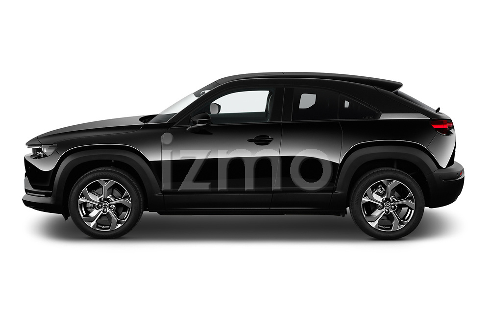 Car Driver side profile view of a 2021 Mazda MX-30 Skycruise 5 Door SUV Side View