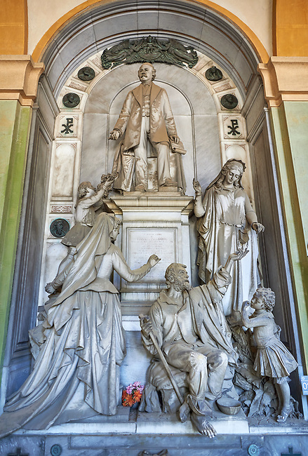 Pictures of the stone sculptured monumental Pelegrini tomb of the Staglieno Monumental Cemetery, Genoa, Italy