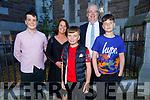 Rory O'Loinsigh former student of Gaelscoil Mhic Easmann receiving his Confirmation in St John's Church on Saturday. L to r: Daithi O'Loinsigh, Fiona Ni Loinsigh, Liam and Marc O'Loinsigh.