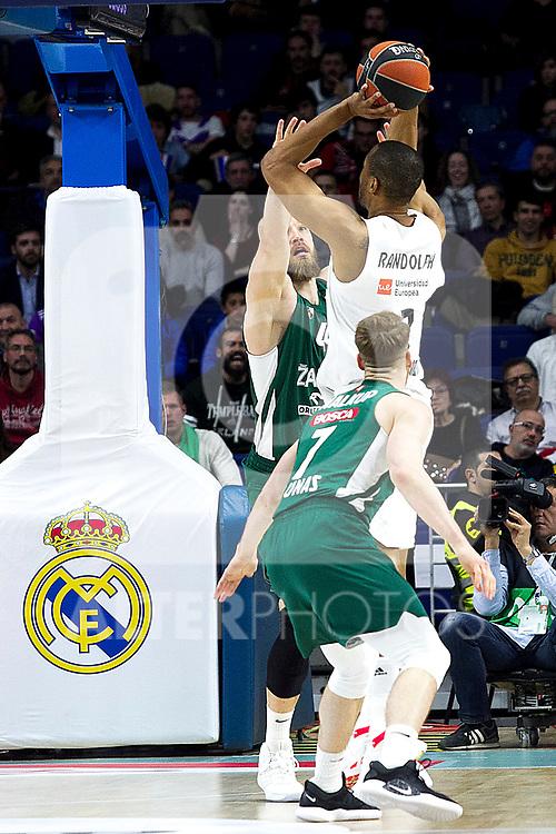 Zalgiris' Thomas Walkup and Real Madrid's Anthony Randolph during Euroligue match between Real Madrid and Zalgiris Kaunas at Wizink Center in Madrid, Spain. April 4, 2019.  (ALTERPHOTOS/Alconada)